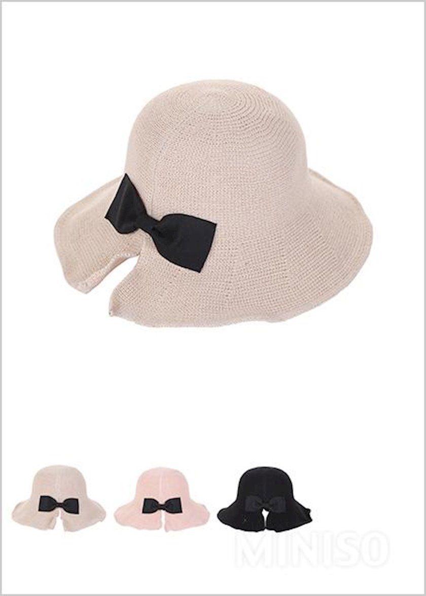 Qadın şlyapası Miniso Straw Hat with Bowknot, krem