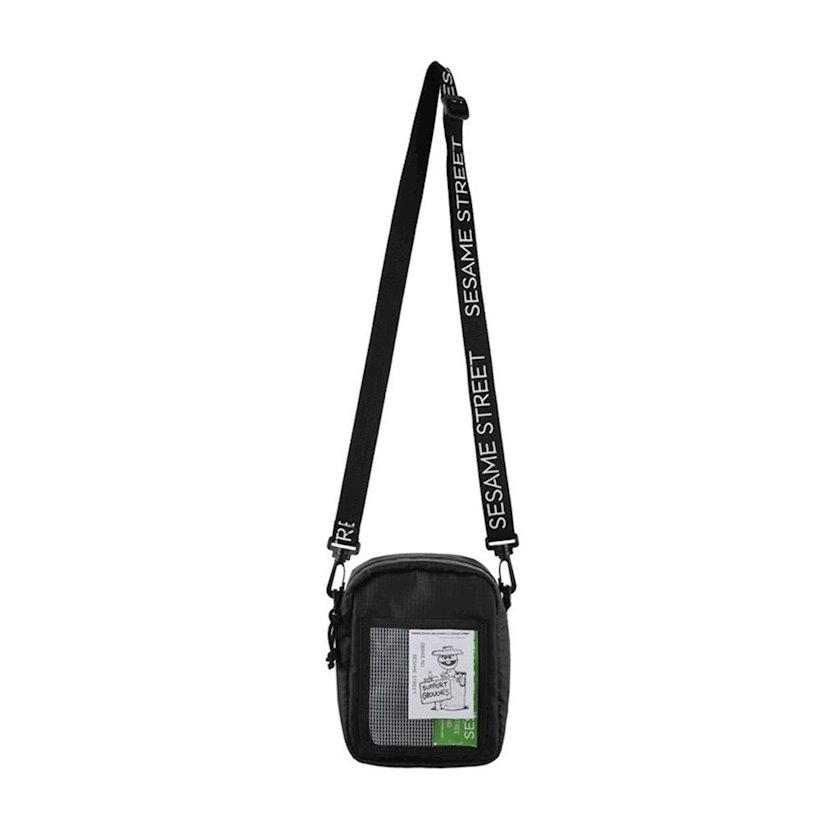 Kross-bodi çanta Miniso Sesame Street Men's Crossbody Bag Black, qara