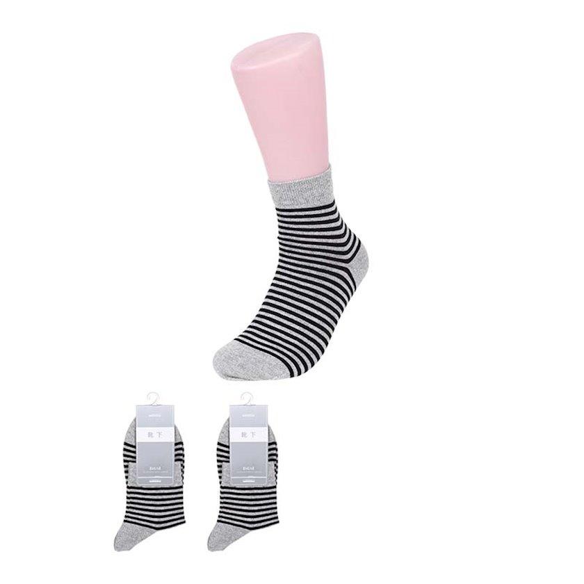 Corab Miniso Men's Stripes Crew Socks, Light Grey, açıq-boz