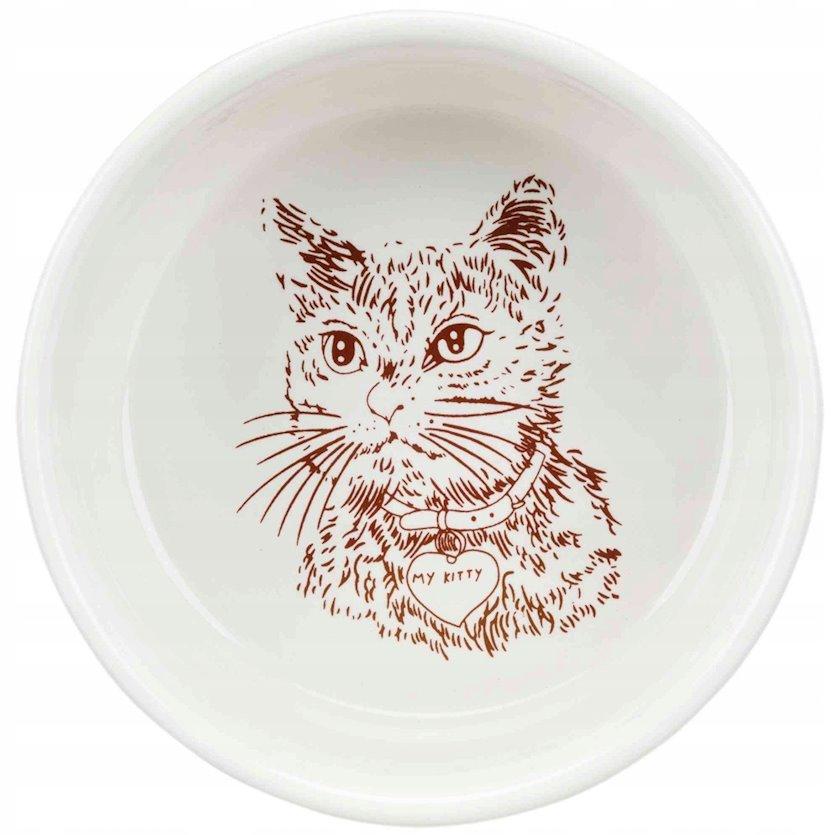 Keramik kasa Trixie pişiklər üçün ağ 11 sm, 300 ml