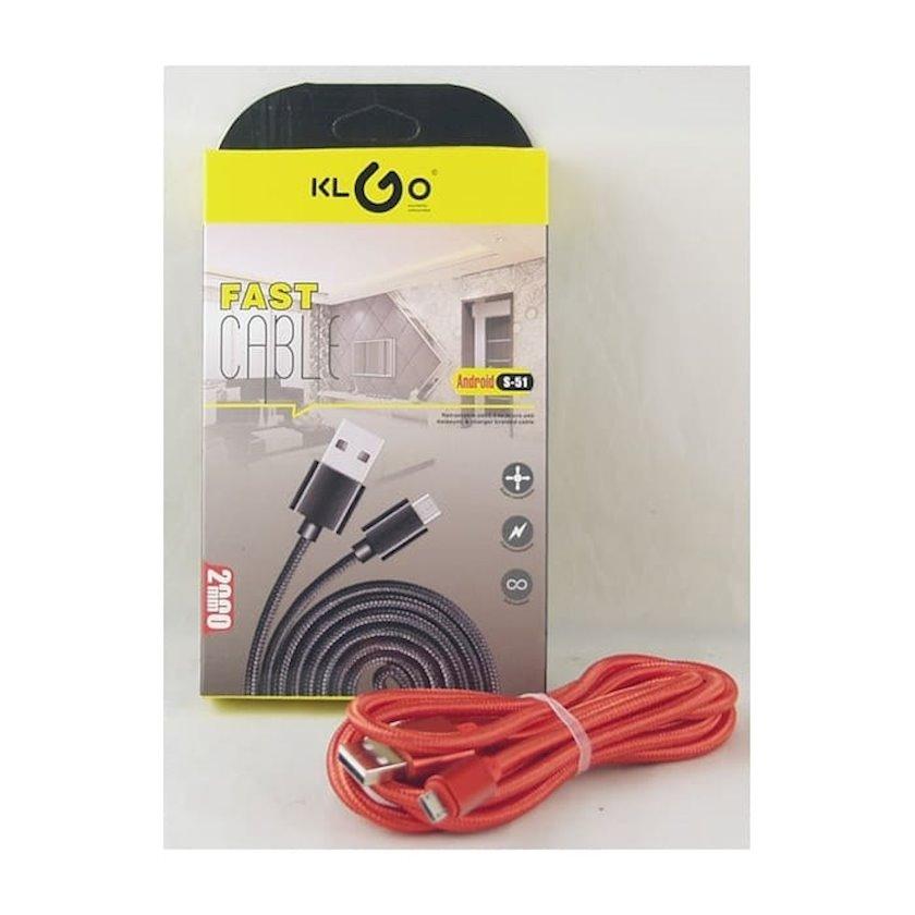 Kabel USB KLGO S-51 MicroUSB-dən enerji toplama və məlumatların ötürülməsi üçün, 2 m, qırmızı