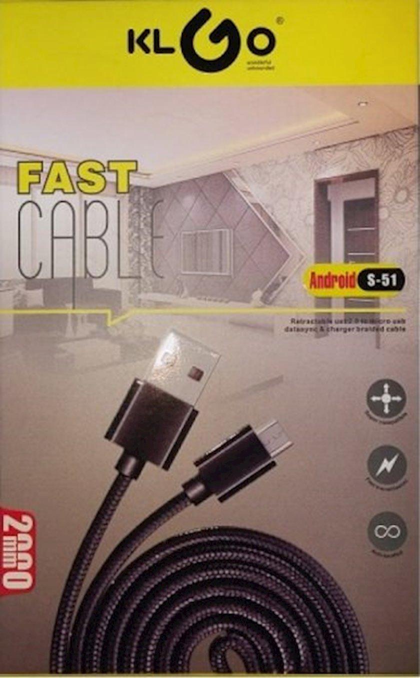 Kabel USB KLGO S-51 MicroUSB-dən enerji toplama və məlumatların ötürülməsi üçün, 2 m, qara