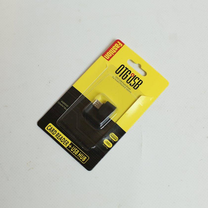Kart oxuyucu OTG MicroUsb+USB Hub, qara