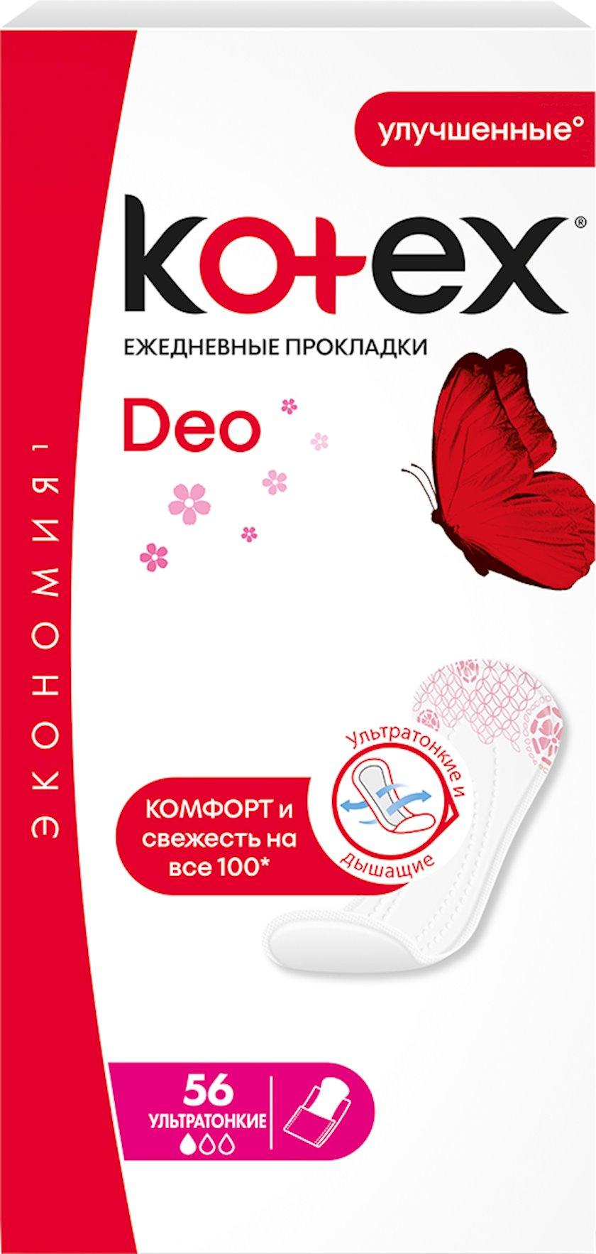 Gündəlik gigiyenik qadın bezləri Kotex Deo Ultra Slim 56 ədəd