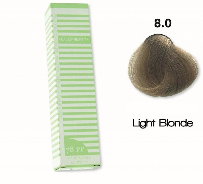 Saç boyası Element Professional Hair Color №8.0 Açık Kumral 60 ml, Açıq şabalıdı