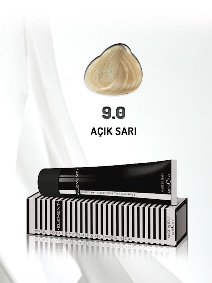 Saç boyası Element Professional Hair Color №9.0 Açık Sarı 60 ml, Açıq sarışın