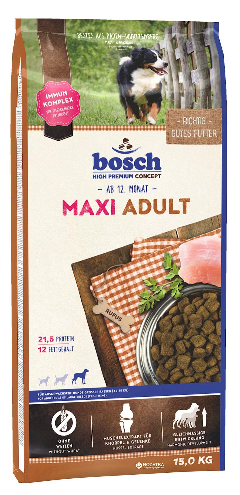 Quru yem Bosch Maxi Adult iri ölçülü yetkin itlər üçün 30 kq-dan artıq ev quşu əti ilə 15 kq