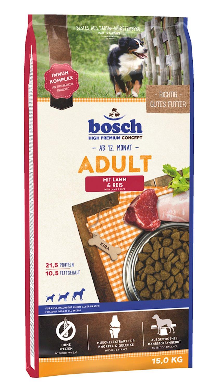 Quru yem Bosch Adult yetkin itlər üçün quzu və düyü ilə 15 kq