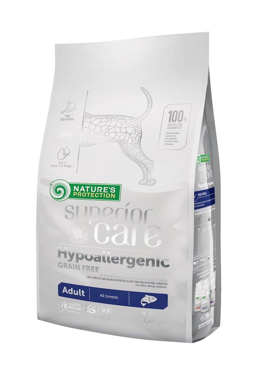 Quru yem Nature's Protection Superior Care Hypoallergenic Grain Free Adult All Breeds allergiyaya meylli yetkin itlər üçün 1.5 kq