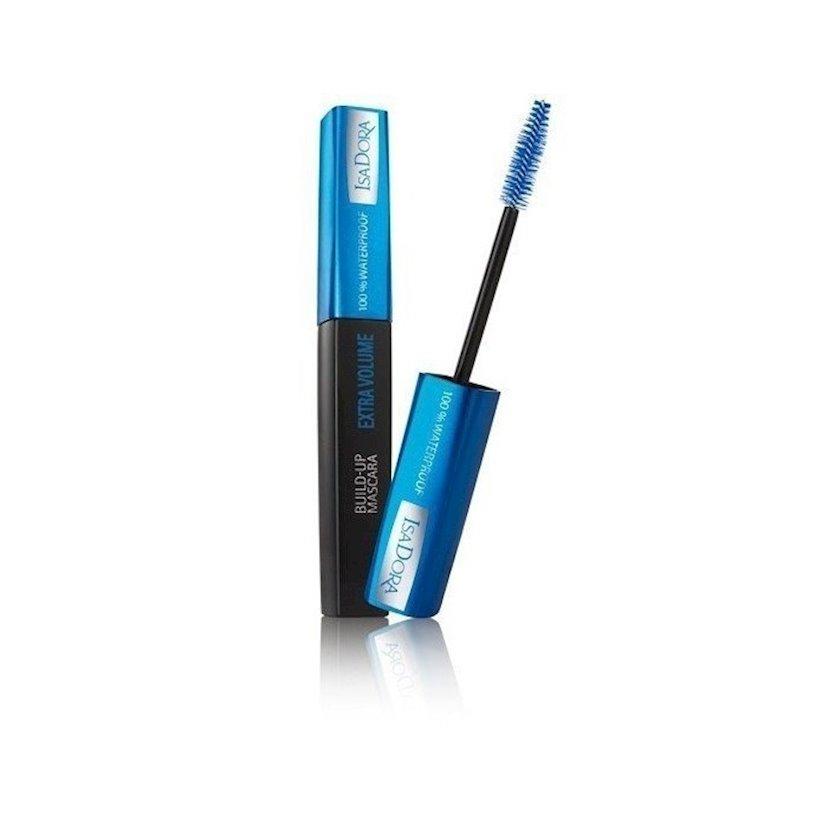 Kipriklər üçün tuş IsaDora Build-Up Mascara Extra Volume 100% Waterproof, suyadavamlı №20, qara, 12 ml