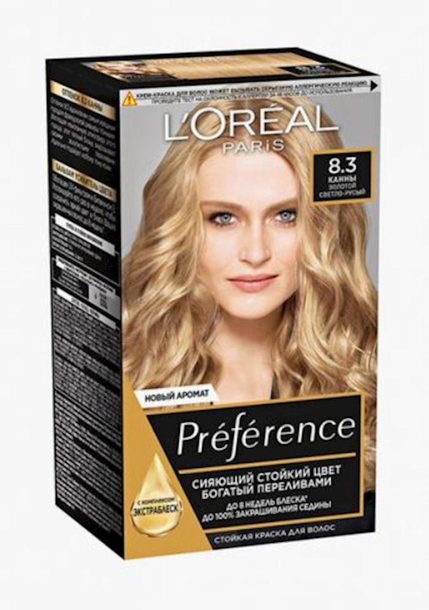 Saçlar üçün boya L'Oréal Paris Preference, rəng balzam-gücləndiricisi ilə, çalar 8.3, Kann, qızılı açıq xurmayı, 243 ml