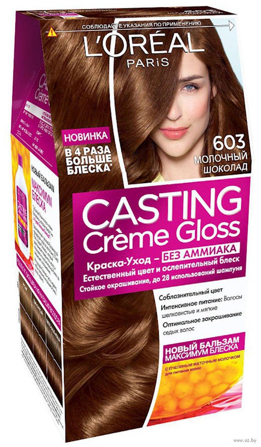 Saçlar üçün boya-qulluq L'Oréal Paris Casting Creme Gloss, çalar 603, Südlü şokolad, 180 ml