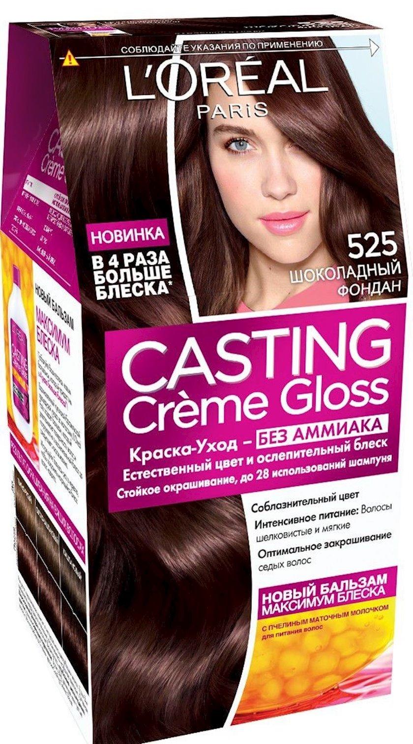 Saçlar üçün boya L'Oréal Paris Casting Creme Gloss ammonyaksız, çalar 525, Şokoladlı fondan, 254 ml