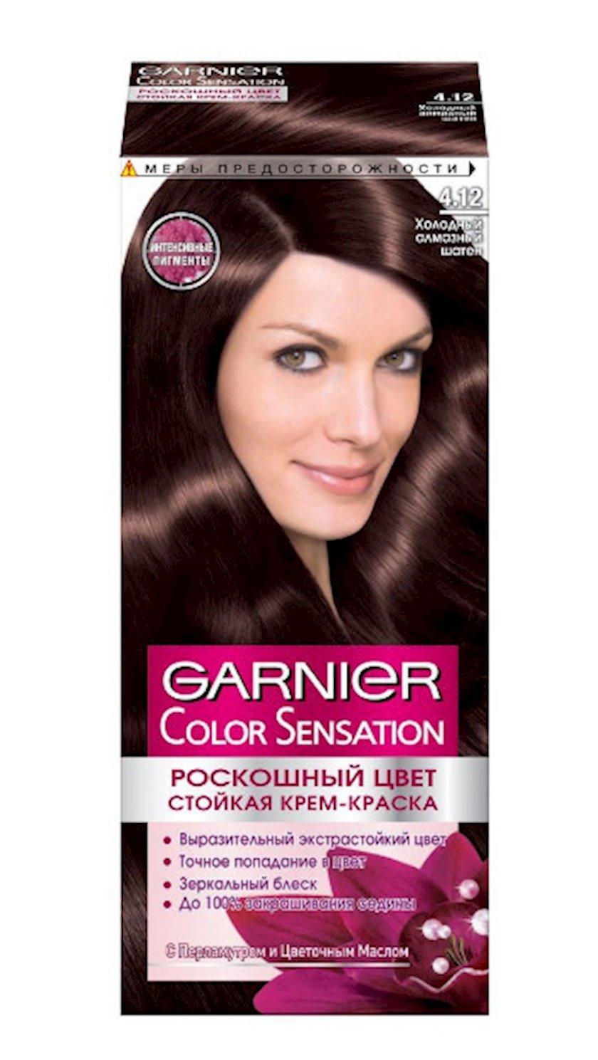 Saçlar üçün krem-boya Garnier Color Sensation, çalar 4.12, Soyuq almaz şaten, 110 ml