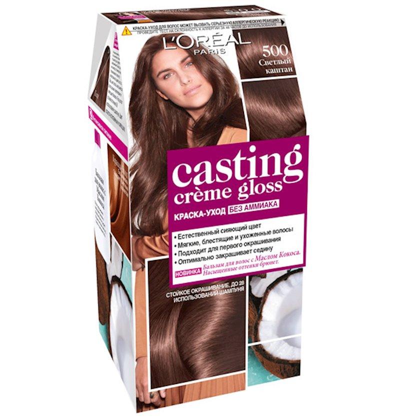 Saçlar üçün boya-qulluq L'Oréal Paris Casting Creme Gloss, çalar 500, Açıq şabalıdı, 180 ml