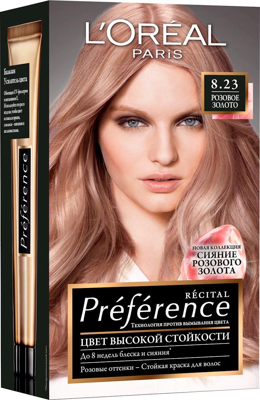 Saçlar üçün boya L'Oréal Paris Preference, çalar 8.23, Çəhrayı qızıl, 174 ml