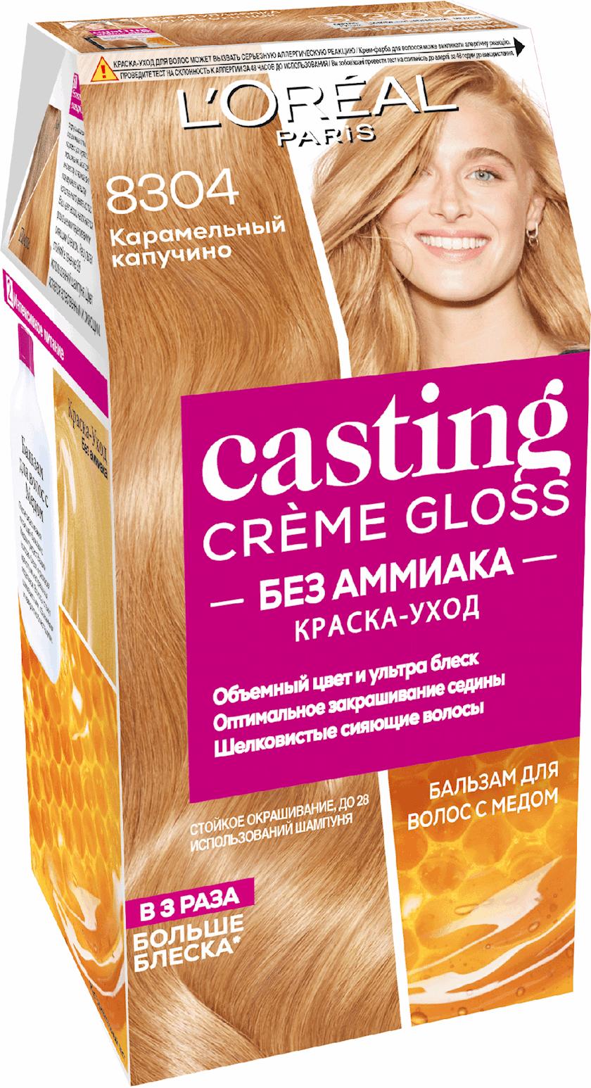 Saçlar üçün boya-qulluq L'Oréal Paris Casting Creme Gloss, çalar 8304, Karamelli kapuçino, 180 ml