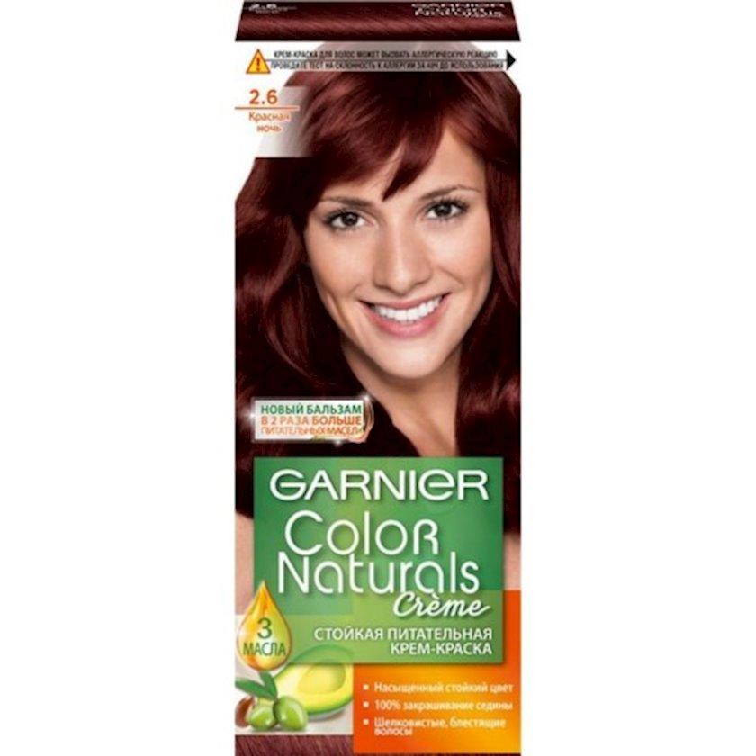 Saçlar üçün krem-boya Garnier Color Naturals, çalar 2.6, Qırmızı gecə, 110 ml