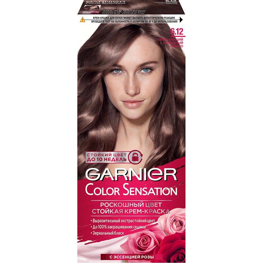 Saçlar üçün boya Garnier Color Sensation Rəng dəbdəbəsi, çalar 6.12, Parlayan soyuq mokko, 110 ml