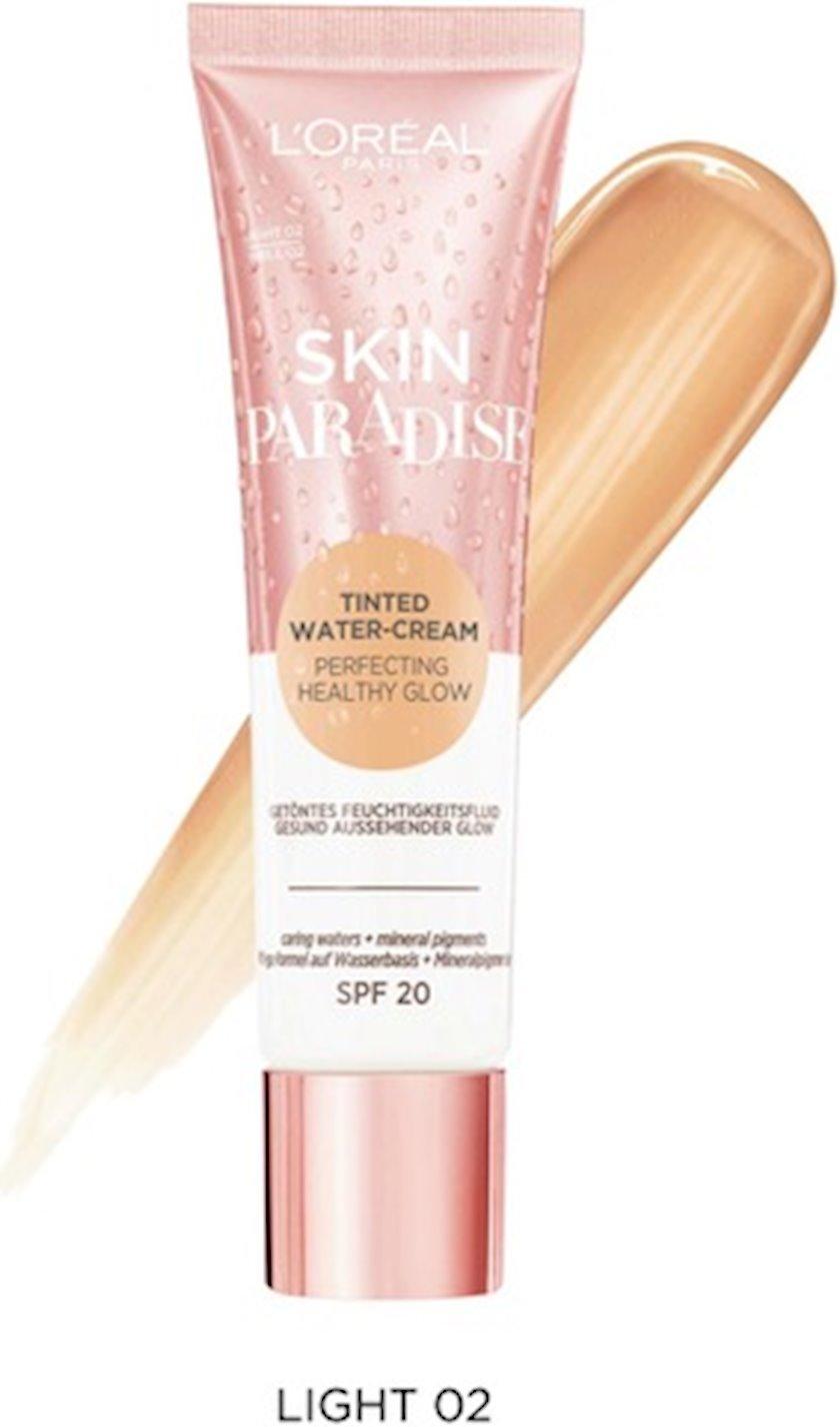 Üz üçün ton dəyişdirən nəmləndirici krem L'Oréal Paris Skin Paradise Tinted Water-Cream, açıq ton 02, 30 ml