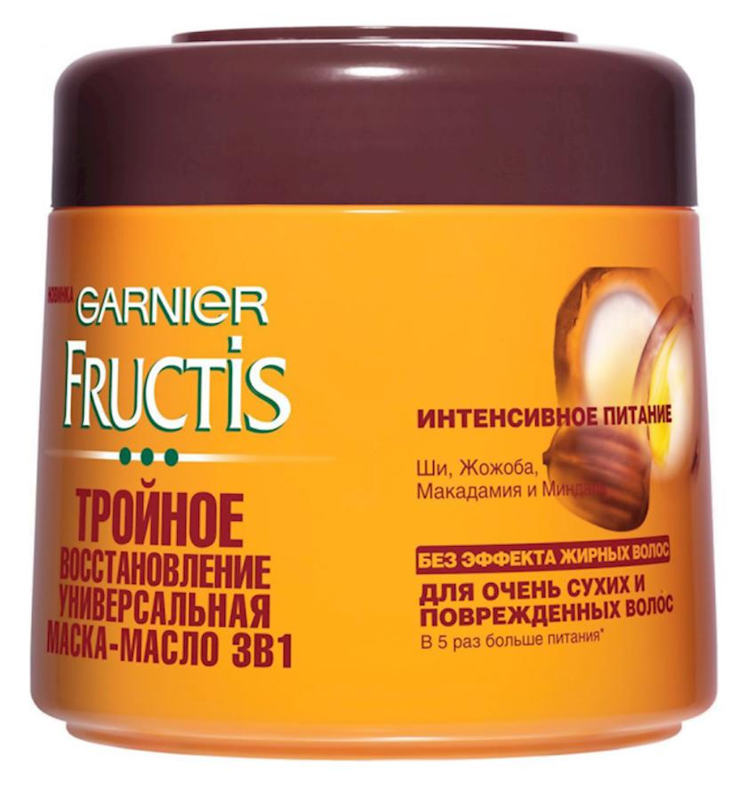Saçlar üçün maska Garnier Fructis Üçqat bərpa, quru və zədələnmiş saçlar üçün yağ-qulluq, 300 ml