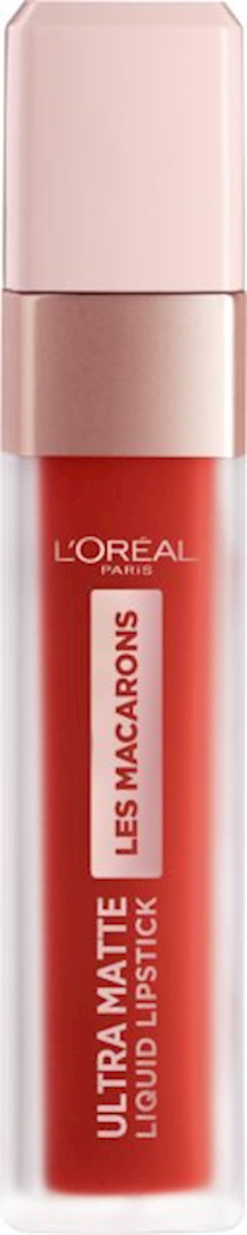 Dodaq üçün maye pomada L'Oréal Paris ultra matlaşdırıcı Les Macaron 832 Strawberry Sauvage, 7.6 ml
