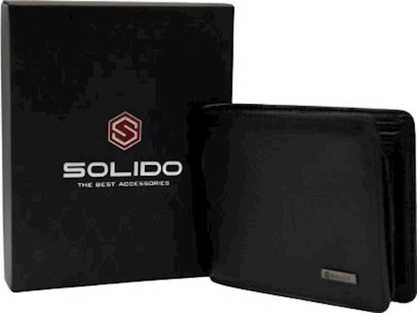 Kişilər üçün dəri pul kisəsi Solido MA510BK Qara,naxışsız