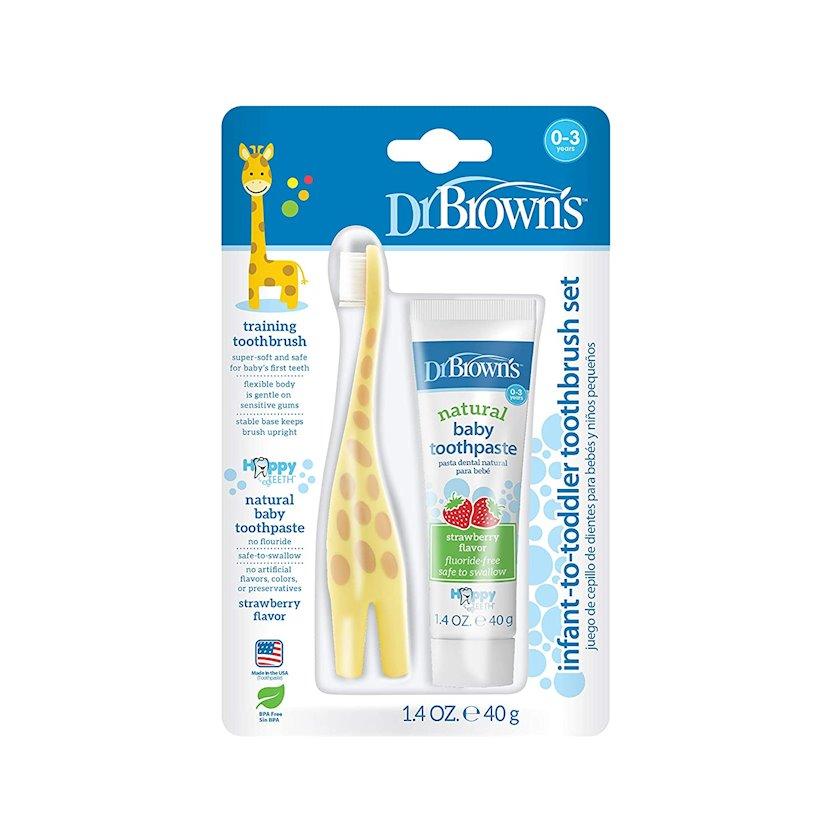 Uşaq diş fırçası və diş məcunu dəsti Dr.Brown's Giraffe&Strawberry çiyələkli 40 q