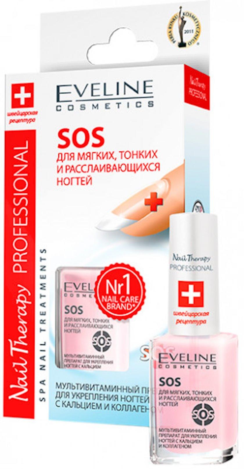 Dırnaqları möhkəmləndirmək üçün kalsium və kollageni  Eveline sos nail therapy professional, 12 ml