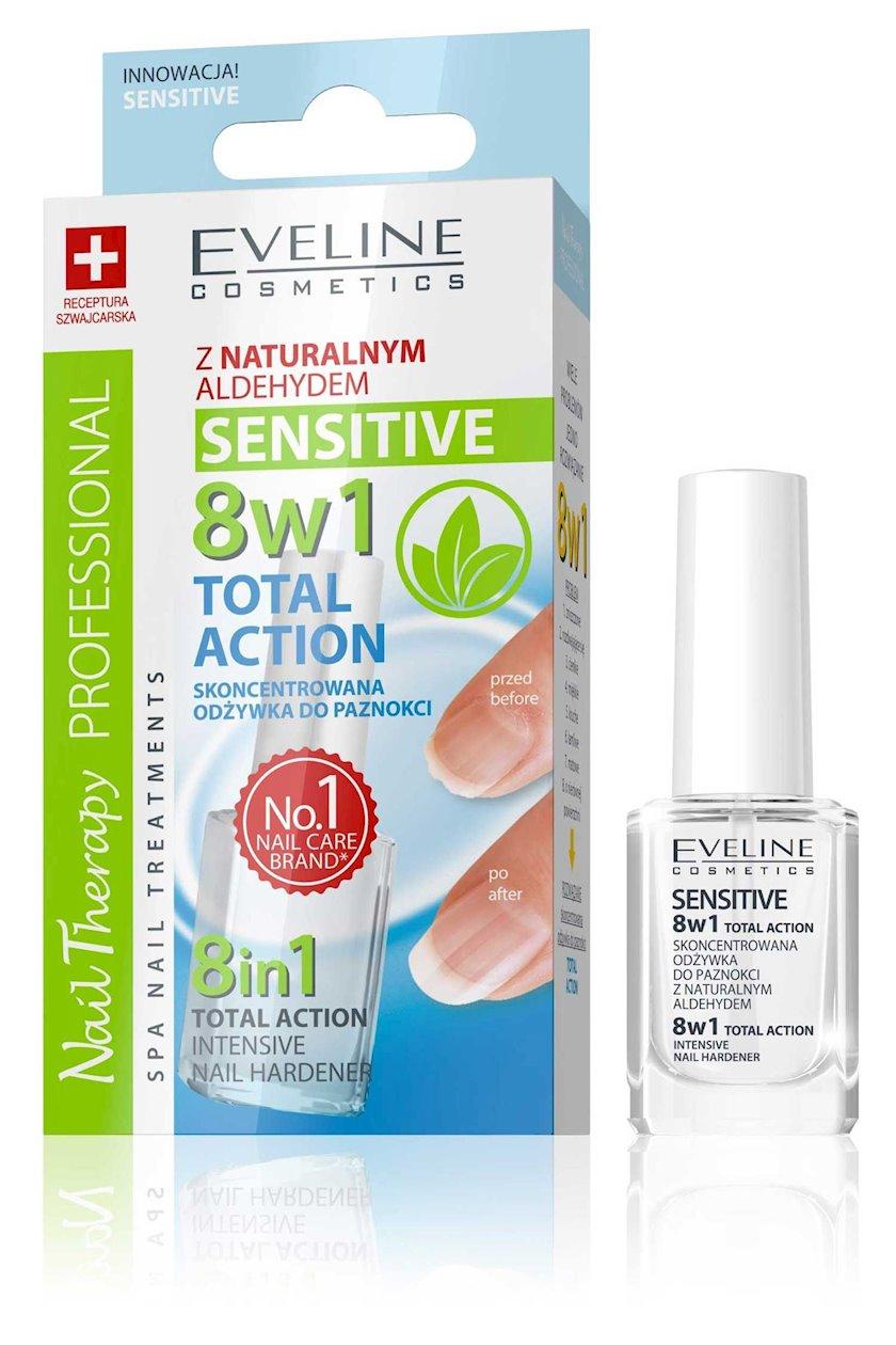 Konsentrat kvars dırnaq möhkəmləndirici vasitə Sensitive seriyasından Eveline 8-i 1-də nail therapy professional, 12 ml