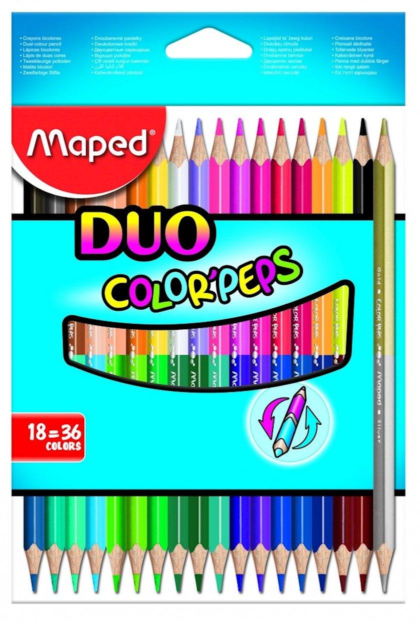 """Rəngli karandaşlar Maped """"Color"""" Peps """",ikitərəfli,36 rəng"""