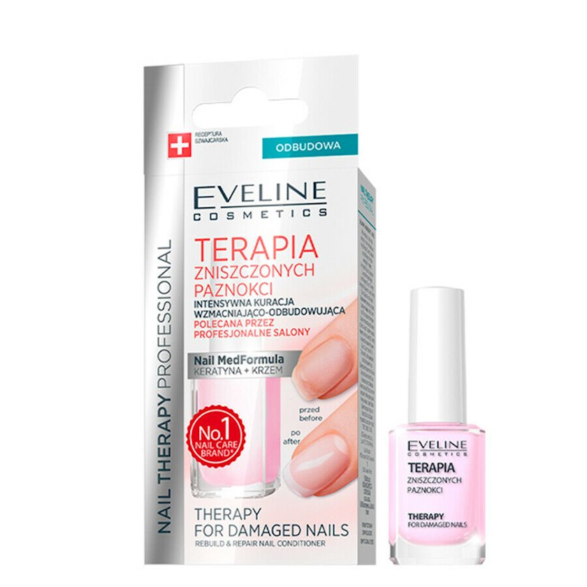 Yapon manikuru - kövrək dırnaqlar üçün təmiz keratinlə meqa-möhkəmləndirici terapiya Eveline Nail Therapy Professinaol, 12 ml