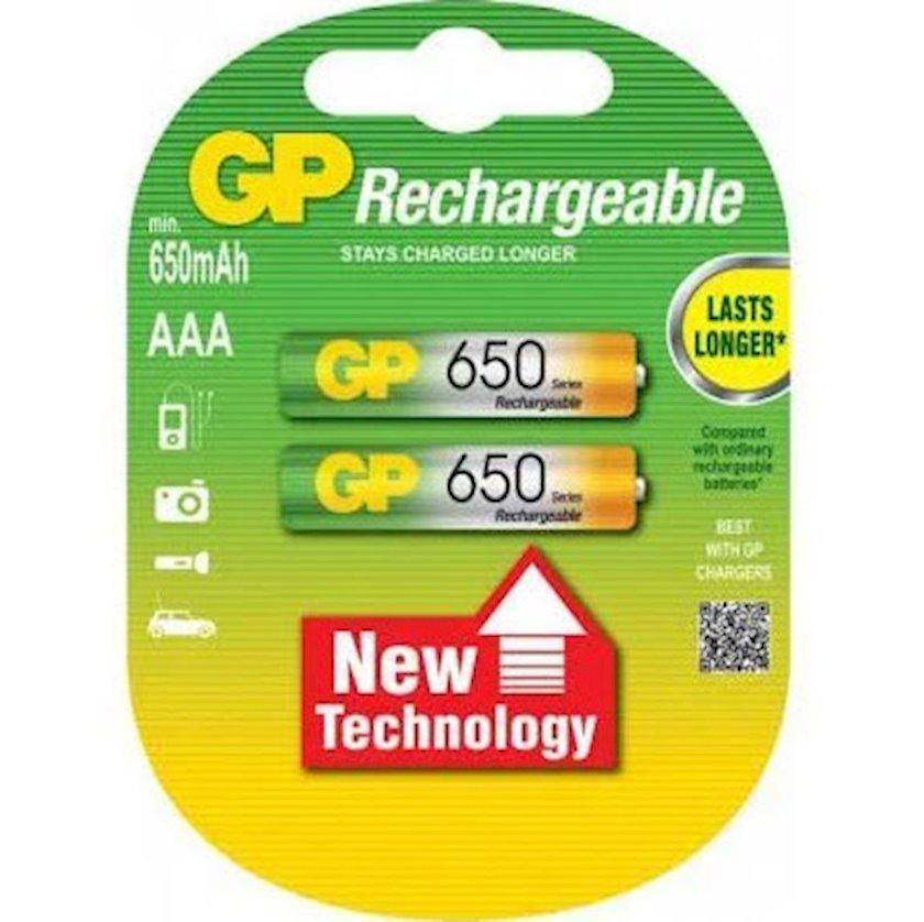 Batareya akkumulyatorlu GP Rechargeable AAA 650mAh