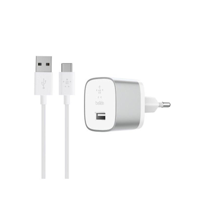 Şəbəkə enerji toplama cihazı Belkin Boost Up QC 3.0 F7U034vf04+kabel USB-C 1.2m, Silver