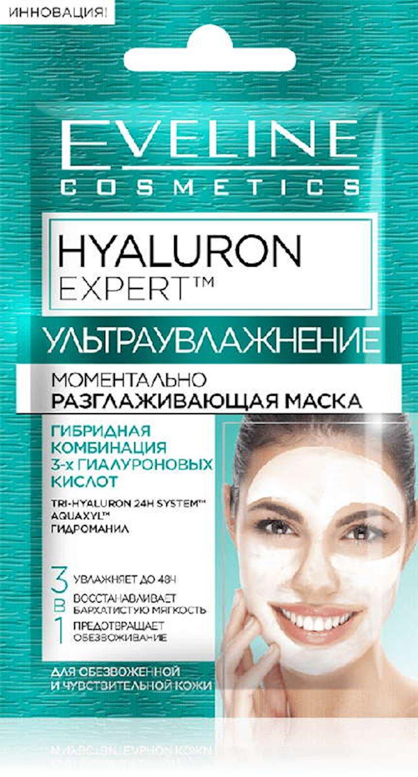Dərhal hamarlaşdırıcı maska Eveline Cosmetics Hyaluron Expert Susuzlaşdırılmış və həssas dəri üçün 3ü 1də
