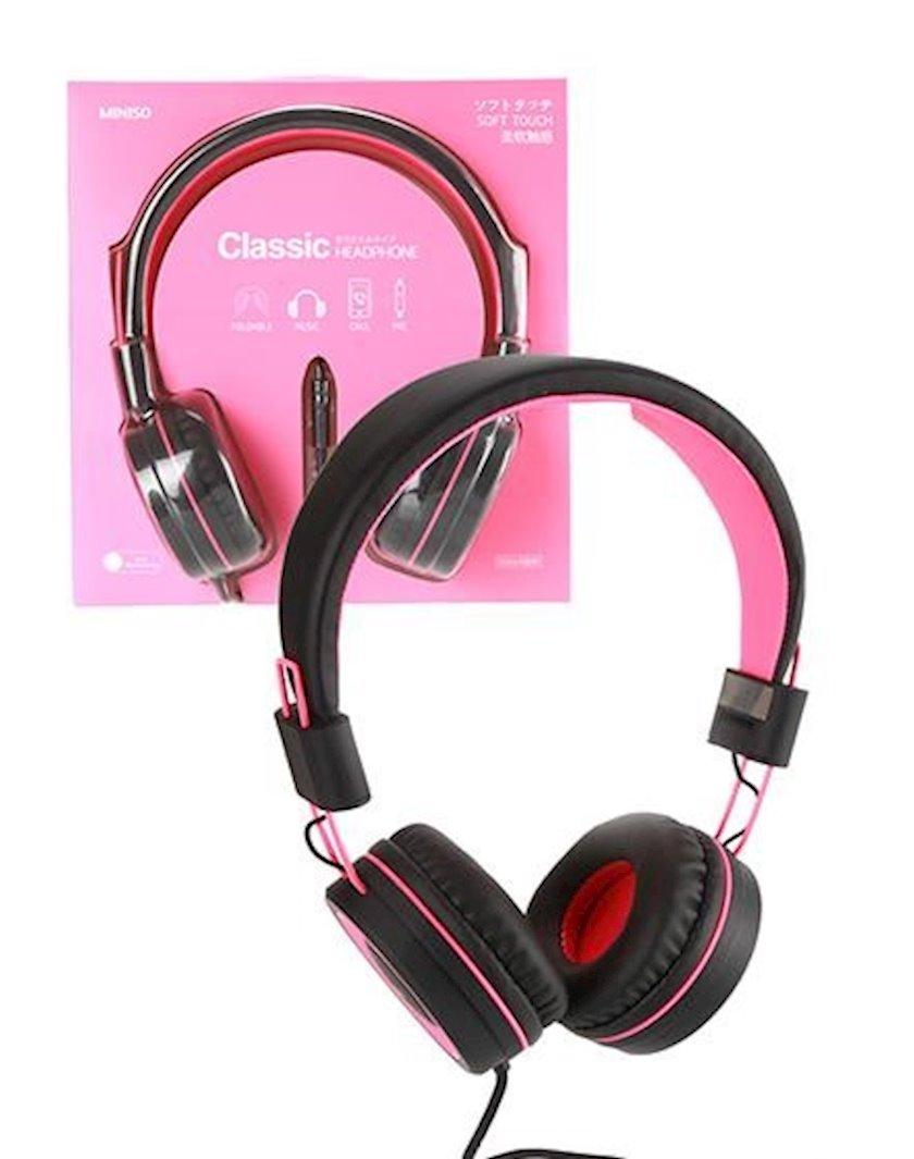 Simli qulaqlıq Miniso Foldable Head Phone (Pink,Black)