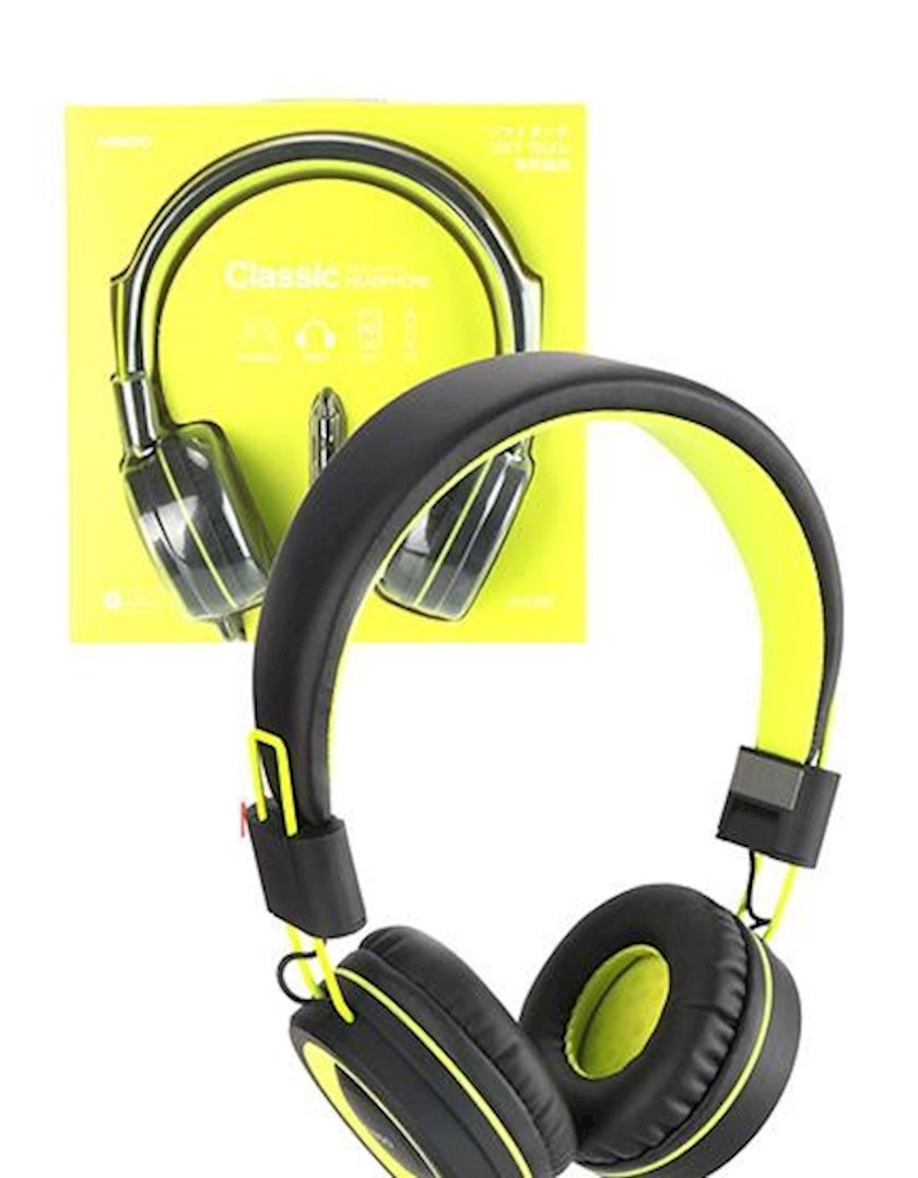 Simli qulaqlıq Miniso Foldable Head Phone (Green,Black)