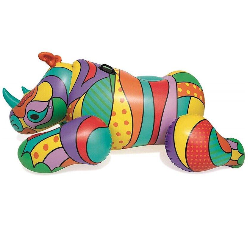 Hava ilə doldurulan döşək Bestway Pop Art Collection Rhino 201SM, kərgədan formasında, 2 davamlı plastik tutacaq, böyüklər və uşaqlar üçün, rəngli, 201x102sm