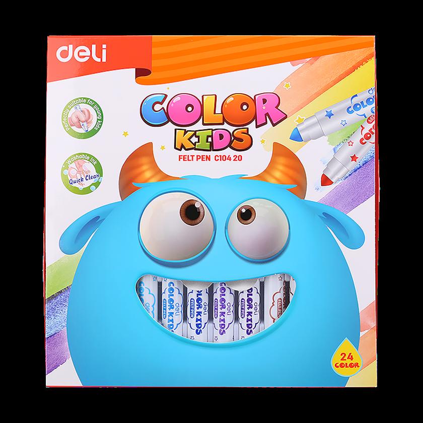 Yuyunan flomaster DELI Office Color Kids, 24 rəng