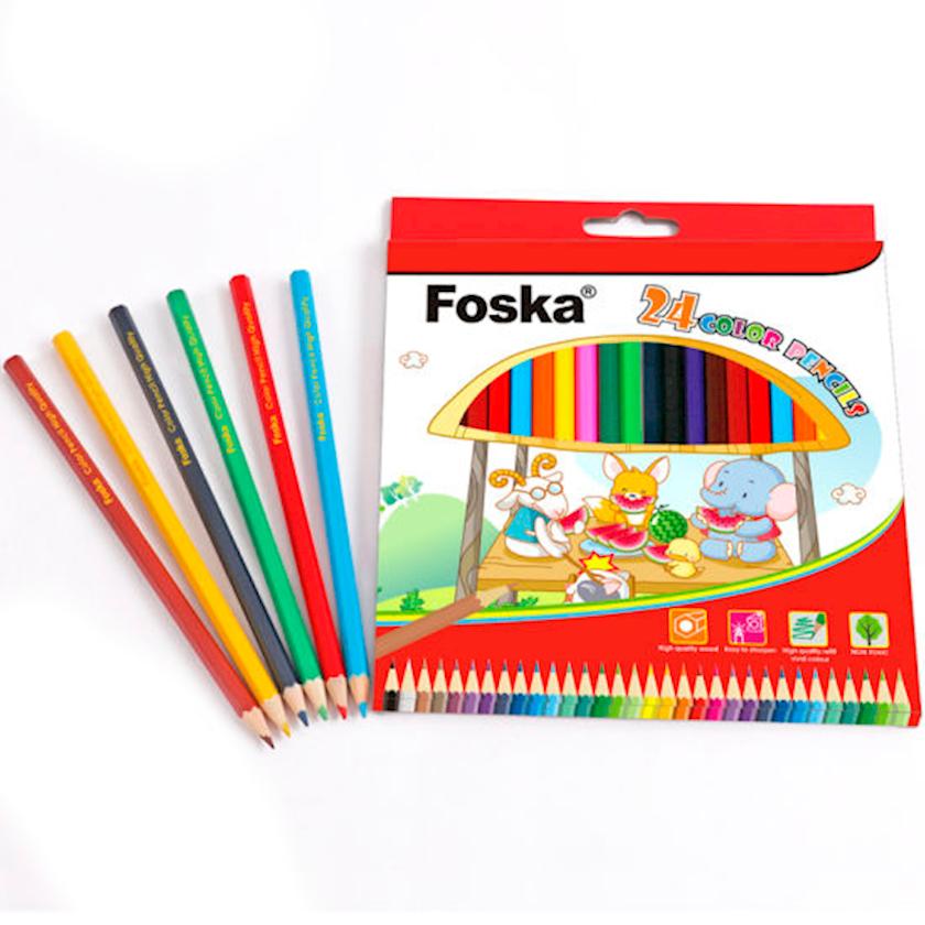 Rəngli karandaşlar Foska, 7 sm, 24 ədəd, altıbucaqlı