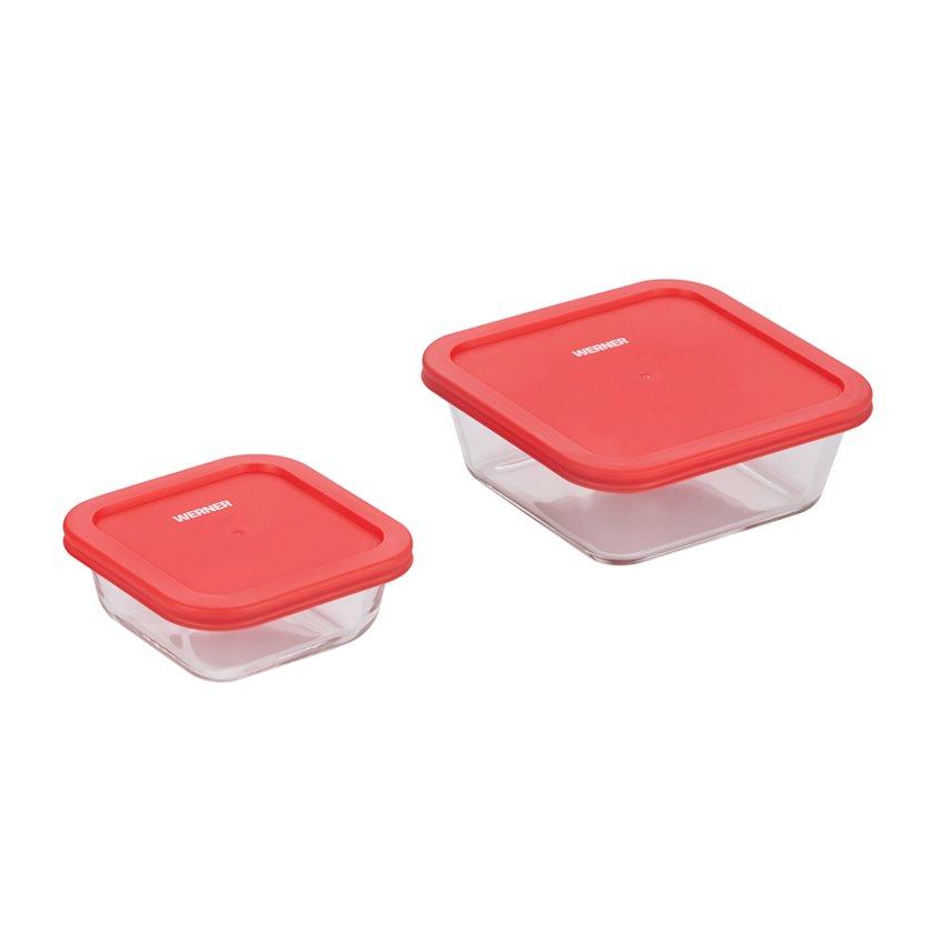 Saxlama qabı dəsti Werner Solo 50236, İstiyə davamlı şüşə/plastik, qırmızı, 0.35/0.95 l, 2 əd