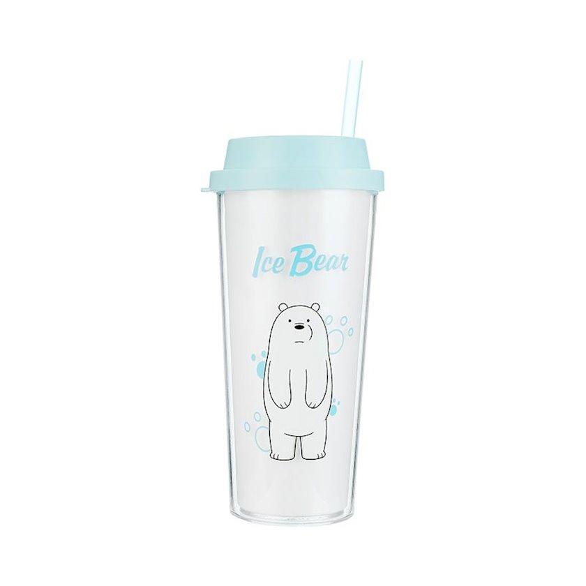 Su üçün şüşə Miniso We Bare Bears Ağ ayı 550 ml
