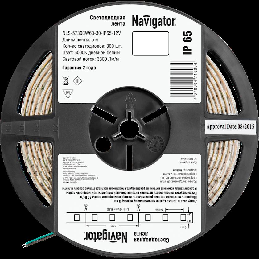 LED lent Navigator NLS-12V, 30Vt, IP65, 60əd/m, 5000x10mm, soyuq gündəlik işığı