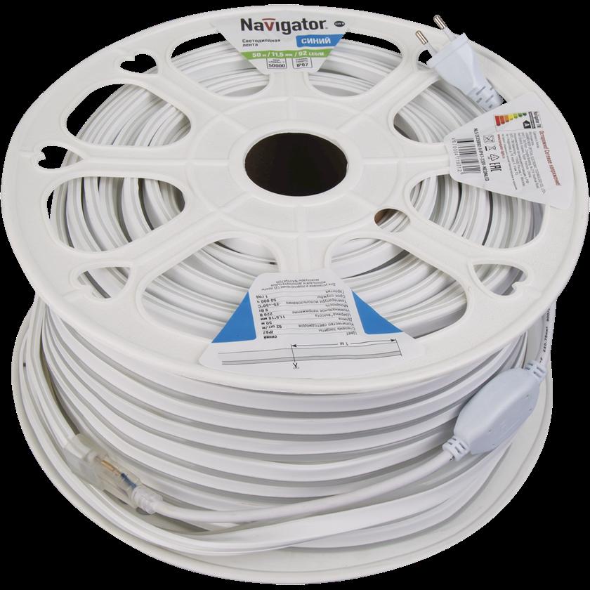 LED lent Navigator NLS-2835B92, 9Vt, IP67, 92əd/m, 220V, 20000x11.5x18mm, göy/mavi