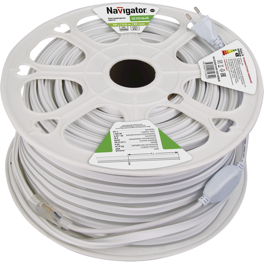 LED lent Navigator NLS-2835G92, 9Vt, IP67, 92əd/m, 220V, 20000x11.5x18mm, yaşıl