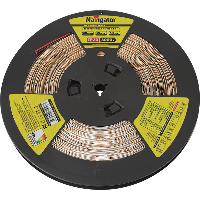 LED lent Navigator NLS-3528WW60, 4.8Vt, IP20, 60əd/m, 12V, 50000x8x3mm, isti ağ