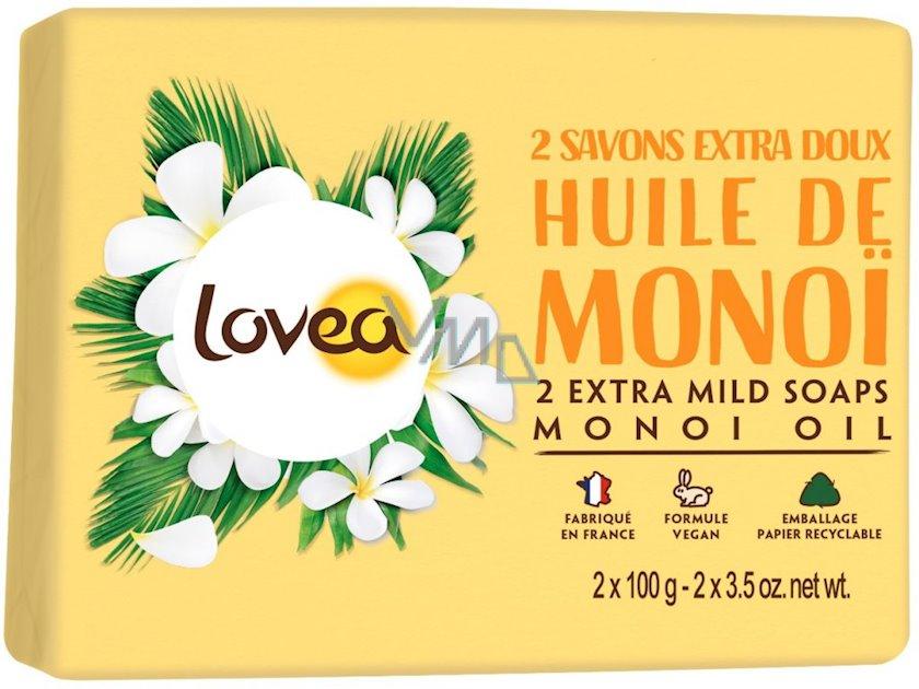 2 extra yumşaq sabun Lovea Monoi yağı ilə,2x100 g