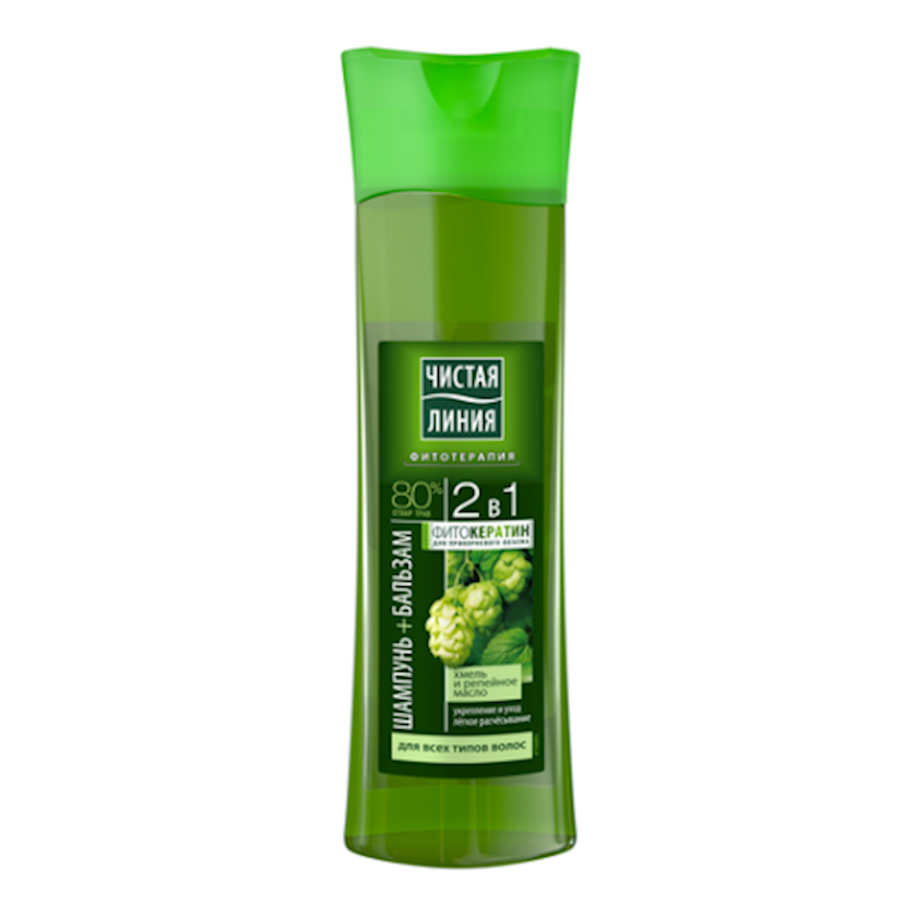 ŞampunЧистая Линия 2-si 1-də Dərman bitkilərinin qarışığı üzərində 400 ml