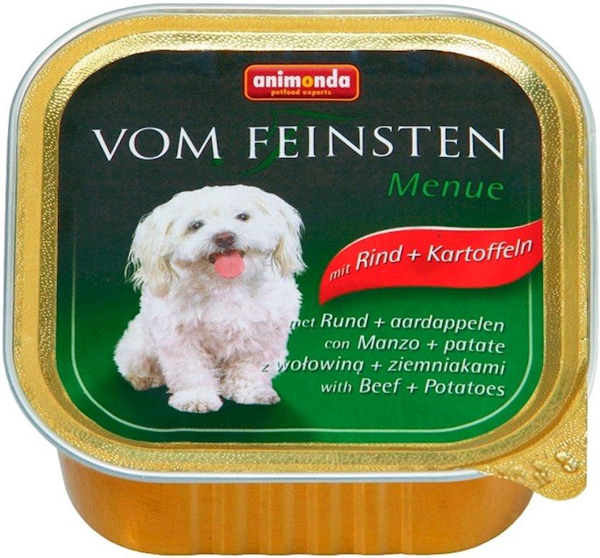 Konserv Animonda Vom Feinsten Menue yetkin itlər üçün, mal əti və kartof ilə, 150 q