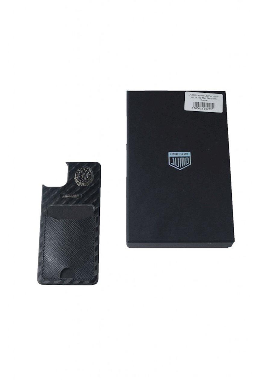 Çexol Jumo Carbon Leather Stiker Apple Iphone 11 Pro üçün Gerb with Pocket